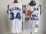 nba 95 all star #34 olajuwon white jerseys