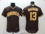 Men's San Diego Padres #13 Manny Machado New Brown 2020 Stitched Baseball Jersey