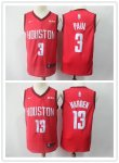 Basketball Houston Rockets #13 James Harden #3 Chris Paul Red Earned Edition Jersey