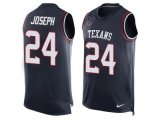 Men's Nike Houston Texans #24 Johnathan Joseph Navy Blue Team Color Stitched NFL Limited Tank Top Jersey