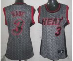 women nba miami heat #3 wade grey [static fashion swingman]