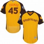men's majestic baltimore orioles #45 mark trumbo yellow 2016 all star american league bp authentic collection flex base mlb jerseys