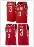 Basketball Houston Rockets #3 Chris Paul #13 James Harden Authentic Red Jersey - City Edition