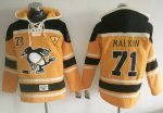 Penguins #71 Evgeni Malkin Gold Sawyer Hooded Sweatshirt Stitched NHL Jersey