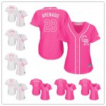Women Baseball Colorado Rockies Pink And White Fashion Cool Base Jersey
