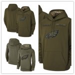 Football Philadelphia Eagles Olive Salute to Service Sideline Therma Performance Pullover Hoodie