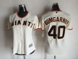 women mlb san francisco giants #40 madison bumgarner majestic cream new cool base jerseys