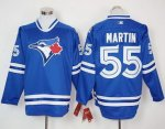 mlb toronto blue jays #55 russell martin blue long sleeve jerseys