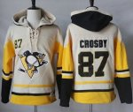 Penguins #87 Sidney Crosby Cream Gold Sawyer Hooded Sweatshirt Stitched NHL Jersey