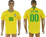 Custom Brazil 2018 World Cup Soccer Jersey Yellow Short Sleeves