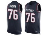 Men's Nike Houston Texans #76 Duane Brown Navy Blue Team Color Stitched NFL Limited Tank Top Jersey