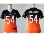 nike women nfl chicago bears #54 urlacher blue-orange [elite dri