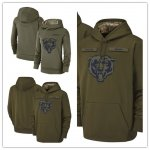 Football Chicago Bears Olive Salute to Service Sideline Therma Performance Pullover Hoodie