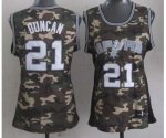 women nba san antonio spurs #21 tim duncan camo jerseys