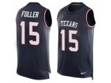 Men's Nike Houston Texans #15 Will Fuller Navy Blue Team Color Stitched NFL Limited Tank Top Jersey