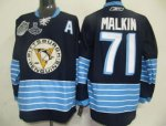 Men Pittsburgh Penguins #71 Evgeni Malkin Dark BLue 2011 Winter Classic Vintage 2017 Stanley Cup Finals Champions Stitched NHL Jersey