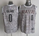 Men's NBA Portland Trail Blazers #0 Damian Lillard Swingman Grey City Light Jersey