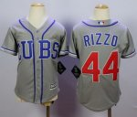 youth mlb chicago cubs #44 anthony rizzo grey majestic cool base jerseys