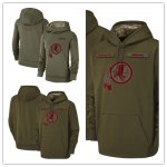 Football Washington Redskins Olive Salute to Service Sideline Therma Performance Pullover Hoodie