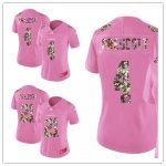 Women Football Dallas Cowboys Stitched Pink Camouflage Font Love Vapor Untouchable Limited Jerseys