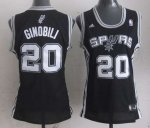 women nba san antonio spurs #20 ginobili black[revolution 30 swi