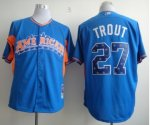 mlb 2013 all star los angeles angels #27 mike trout blue jerseys