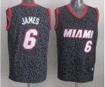 nba miami heat #6 james black leopard print jerseys [2014 new]