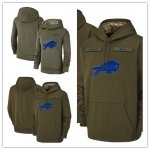 Football Buffalo Bills Olive Salute to Service Sideline Therma Performance Pullover Hoodie