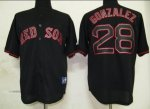 mlb jerseys boston red sox #28 gonzalez black fashion