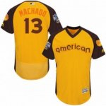 men's majestic baltimore orioles #13 manny machado yellow 2016 all star american league bp authentic collection flex base mlb jerseys