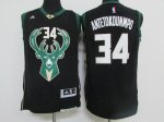 nba milwaukee bucks #34 giannis antetokounmpo black 2016 new jer