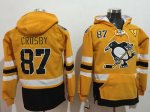 Penguins #87 Sidney Crosby Gold Sawyer Hooded Sweatshirt 2017 Stadium Series Stitched NHL Jersey