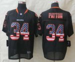 nike nfl chicago bears #34 payton black [Elite USA flag fashion]