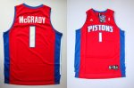 nba detroit pistons #1 mcgrady red cheap jerseys [swingman]