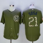 mlb chicago cubs #21 sammy sosa green camo new cool base jerseys