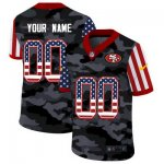 Custom Football San Francisco 49ers Any Name and Number Stitched 2020 Camo USA Flag Salute to Service Limited Jerseys