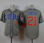 mlb jerseys Chicago Cubs #21 Sosa Grey Alternate Road Cool Base
