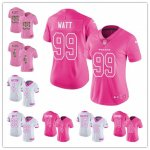 Women's Football Houston Texans Pink -White Rush Fashion Stitched Limited Jersey