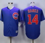 mlb majestic chicago cubs #14 ernie banks blue new cool base jerseys