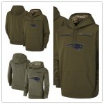 Football New England Patriots Olive Salute to Service Sideline Therma Performance Pullover Hoodie