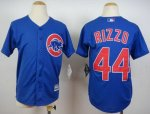 youth mlb chicago cubs #44 anthony rizzo blue majestic cool base jerseys