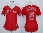 women mlb los angeles angels #5 albert pujols red majestic cool base jerseys