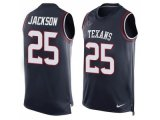 Men's Nike Houston Texans #25 Kareem Jackson Navy Blue Team Color Stitched NFL Limited Tank Top Jersey