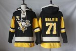 Men NHL Pittsburgh Penguins #71 Evgeni Malkin Black Alternate Sawyer Hooded Sweatshirt Stitched NHL Jersey