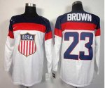 nhl team usa olympic #23 brown white jerseys [2014 winter olympi