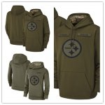 Football Pittsburgh Steelers Olive Salute to Service Sideline Therma Performance Pullover Hoodie