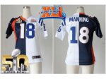 women nike denver broncos #18 peyton manning blue white super bowl xli & super bowl 50 split colts jerseys