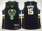 nba milwaukee bucks #15 monroe black 2016 new jerseys