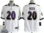 2013 super bowl xlvii nike baltimore ravens #20 reed white [game