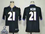 2013 super bowl xlvii nike baltimore ravens #21 webb black [game